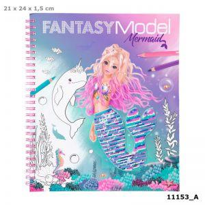 Fantasy Model kleurboek met pailletten MERMAID