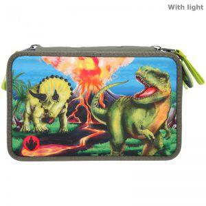 Dino world 3-vaks etui met led
