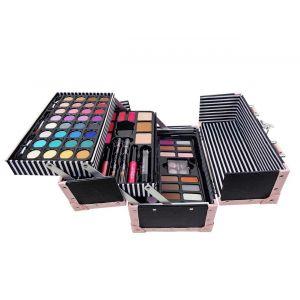 Casuelle makeup koffer zwart met roze