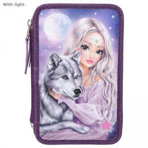 Fantasymodel 3-vaks etui wolf met led