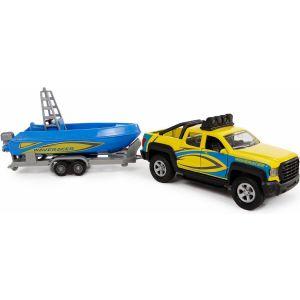 Auto terreinwagen met boot met licht en geluid
