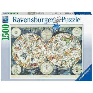 Puzzel 1500 Wereldkaart met Fantasie dieren