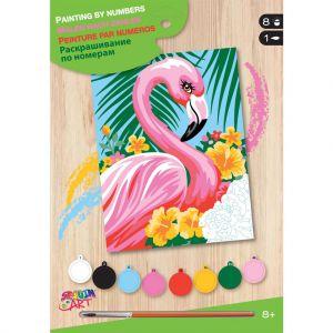 Schilderen op nummer Flamingo met bloem