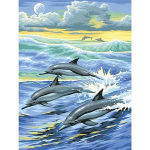 Schilderen op nummer dolfijnen in het water