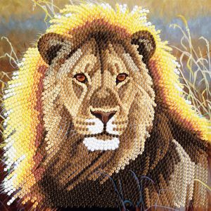 Crystal Art Kaart Rustende Leeuw 18 X 18 Cm