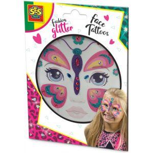 Fashion glitter gezicht tattoo`s SES: vlinder (14148)