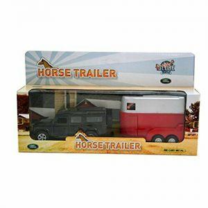 Auto landrover met paardentrailer