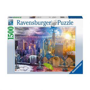 Puzzel New York Skyline Dag-Nacht 1500 Stukjes
