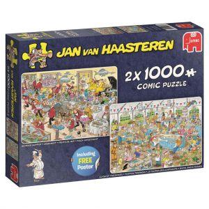 Puzzel Jan Van Haasteren Eet En Bakfestijn 2 in 1 2 x 1000 Stukjes