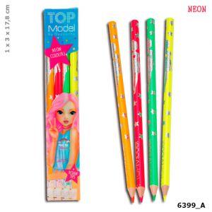 Neon potloden Topmodel 4 stuks