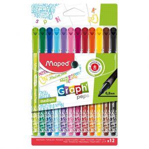 Viltstiften Fijnlijner Maped 12 Kleuren 0,8 MM
