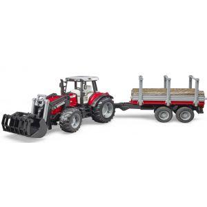 Bruder Tractor Massey Ferguson 7480 Met Houttransport Aanhanger