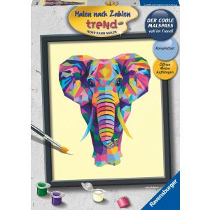 Schilderen op nummer bonte olifant