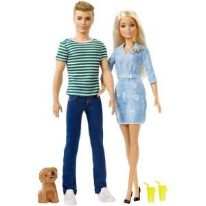Ken en Barbie met puppy