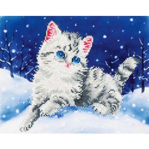 Diamond Dotz kitten in de sneeuw