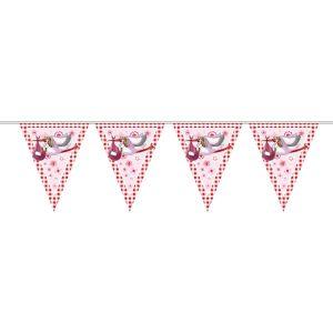 Vlaggenlijn geboorte roze met ooievaar